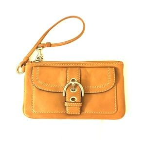 Coach leather brown wristlet clutch